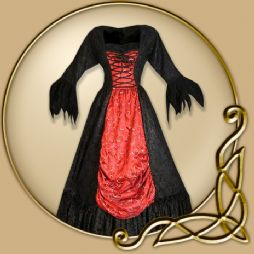 Costume - Black and Red Dress with Frayed Sleeves